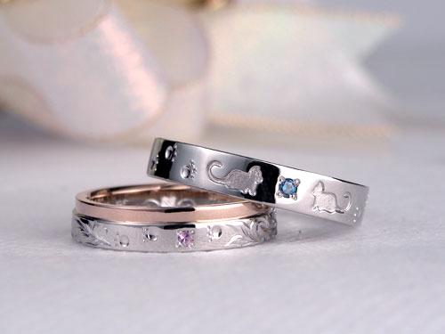 ネコのシルエット指輪