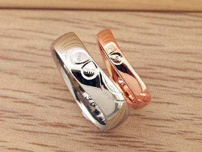 素材違いのクローバー結婚指輪