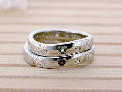 ネコの顔彫刻の結婚指輪