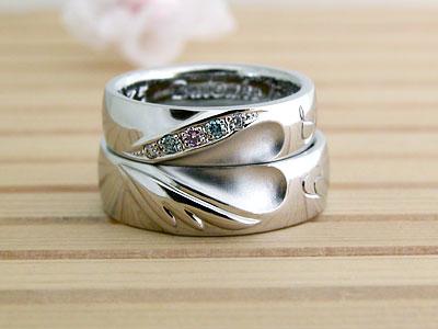 ハートとひまわりの結婚指輪