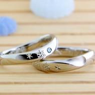 雪の結晶彫刻の結婚指輪