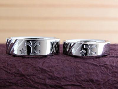 二人のオリジナルマークの結婚指輪