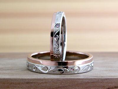 ツートーンカラーのクールな結婚指輪