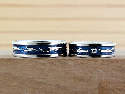 ブルーの炎モチーフ結婚指輪