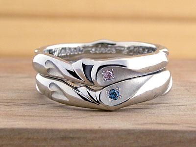ハートにダイヤが入った結婚指輪