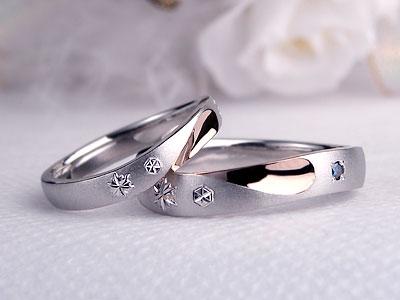 ピンクのハートと雪の結晶結婚指輪