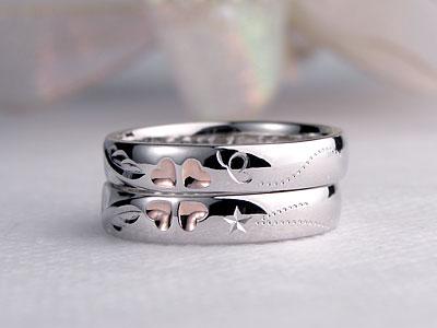 ピンククローバーに舞う蝶々結婚指輪