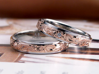 コンビカラーのハワイアン結婚指輪