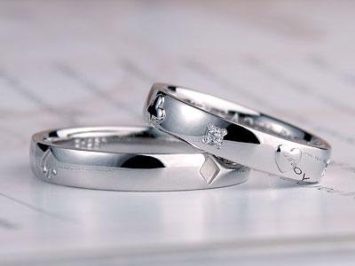 トランプ図柄が入った結婚指輪