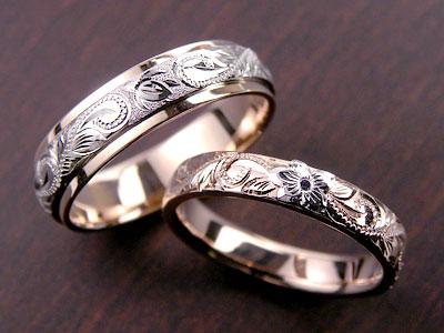 浮き上がった花ハワイアン結婚指輪