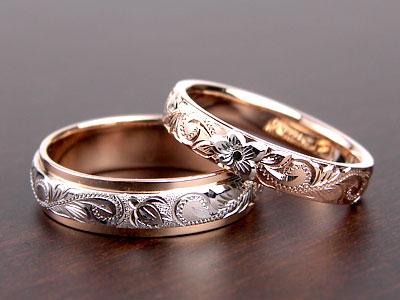 ハイビスカスがプラチナの結婚指輪