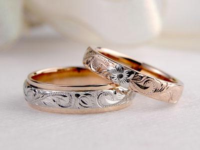 プラチナの花が浮き出た結婚指輪