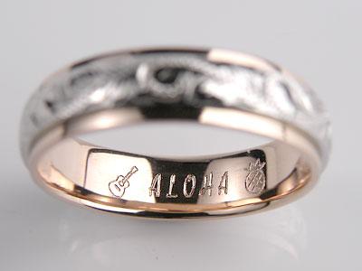 アロハとギターとパイン彫刻結婚指輪