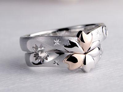 桜透かしの結婚指輪