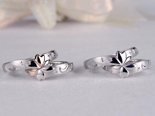 合わせると桜の花の透かしが浮かび上がるマリッジリング