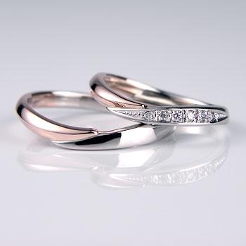 パラジウムとK14ピンクゴールドの格安結婚指輪