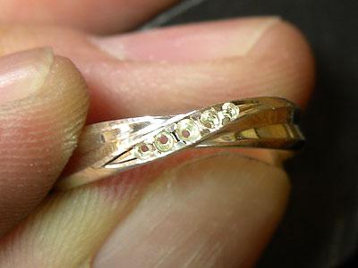 シルバーサンプルリングの爪の彫り