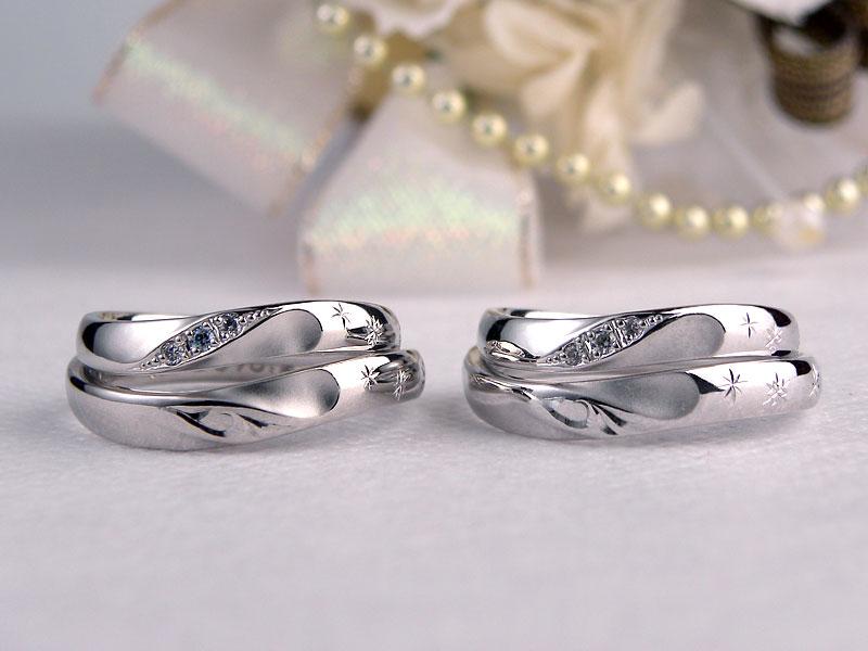 ハートの浮き出る結婚指輪のシルバーサンプルリング