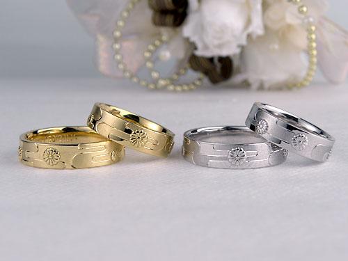 和風の菊と川のサンプルと本制作の結婚指輪