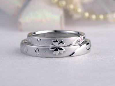 桜の花びらストレート結婚指輪