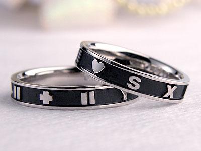 アラビア数字燻しの結婚指輪