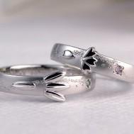桜と笹の和風結婚指輪