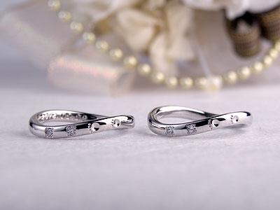 歪みを比べた結婚指輪