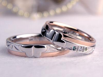 四つ葉唐草彫刻結婚指輪
