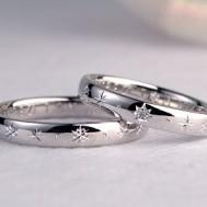 雪の結晶彫刻結婚指輪