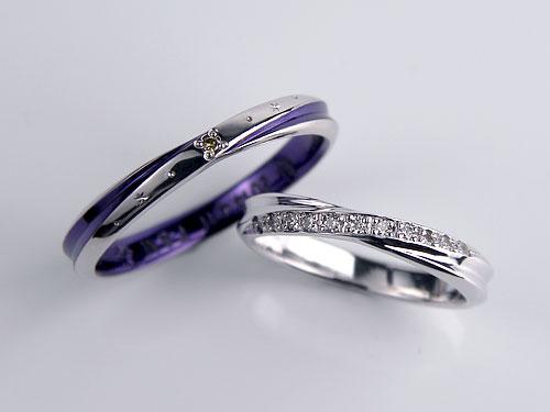 紫色コートした結婚指輪