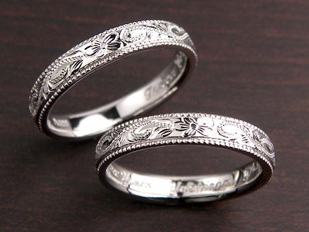 プルメリアのミル打ちハワイアン結婚指輪
