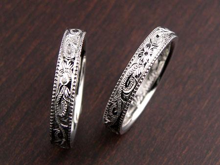プルメリア彫刻のミル打ちハワイアン結婚指輪