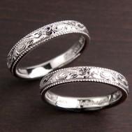 ミル打ちエッジプルメリアのハワイアン結婚指輪