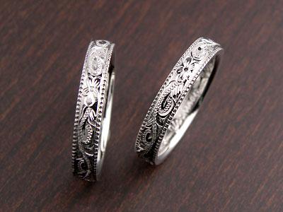ミル打ちエッジのハワイアン結婚指輪