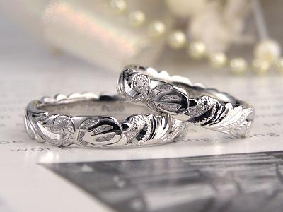 立体のホヌ彫刻ハワイアン結婚指輪
