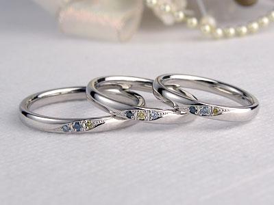 カラーダイヤの家族の指輪
