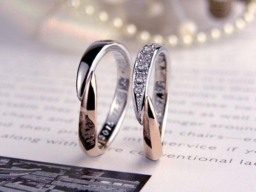 プラチナとピンクゴールドでダイヤが豪華な結婚指輪