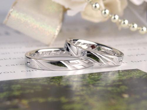 天の川とイニシャルのオーダー結婚指輪