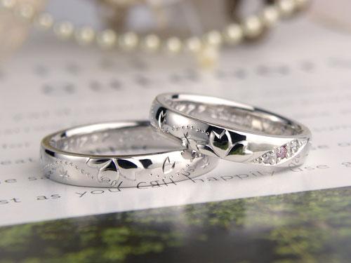 桜吹雪の結婚指輪