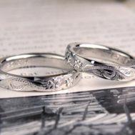 桜のハワイアン彫刻オーダー結婚指輪